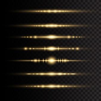 レーザー光線、水平光線。太陽の光。透明な背景に黄色の輝く光が爆発します。