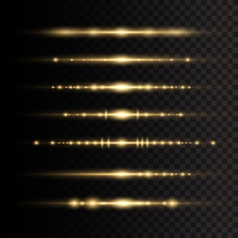 レーザー光線の水平光線。透明な背景に黄色の輝く光が爆発します。太陽の光。美しい光のフレア。イラスト、。