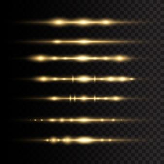 レーザー光線、水平光線。透明な背景に黄色の輝く光が爆発します。太陽の光。美しい光のフレア。