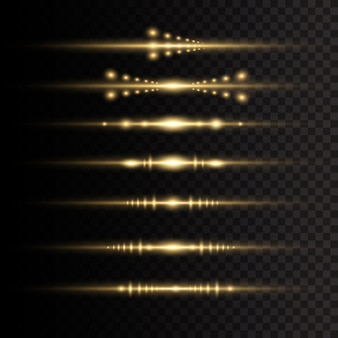 Laser beams, horizontal light rays. yellow glowing light explodes on a transparent background.