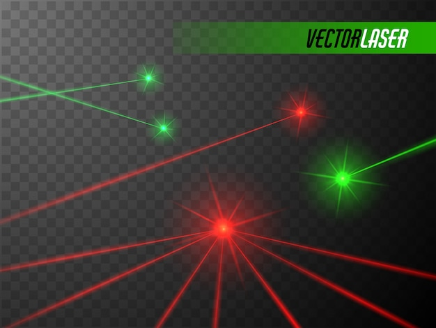 Laser beams isolated  glowing red and green laser