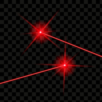 Laser beams isolated. vector glowing red laser.