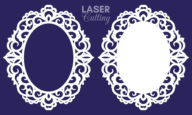 Laser cut abstract oval frames with swirls, ornament, vintage frame. may be used for laser cutting. photo frames with lace for paper cutting.