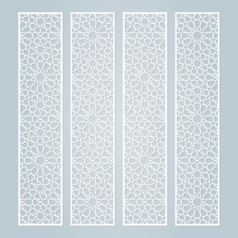 Laser cut borders template with islamic   pattern.