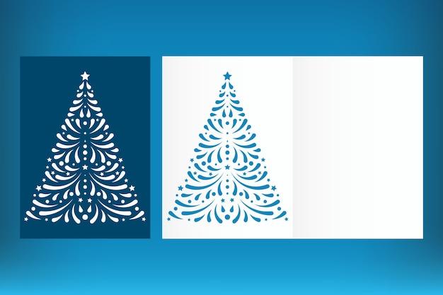 Шаблон рождественской открытки с лазерной резкой