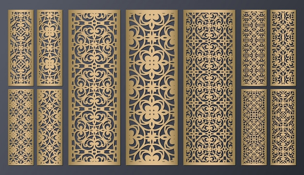 Laser cut decorative lace borders patterns. set of bookmarks templates. cabinet fretwork panel. lasercut metal panel. wood carving.