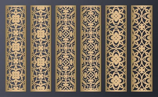 Laser cut decorative lace borders patterns. set of bookmarks templates. cabinet fretwork panel. lasercut metal panel. wood carving