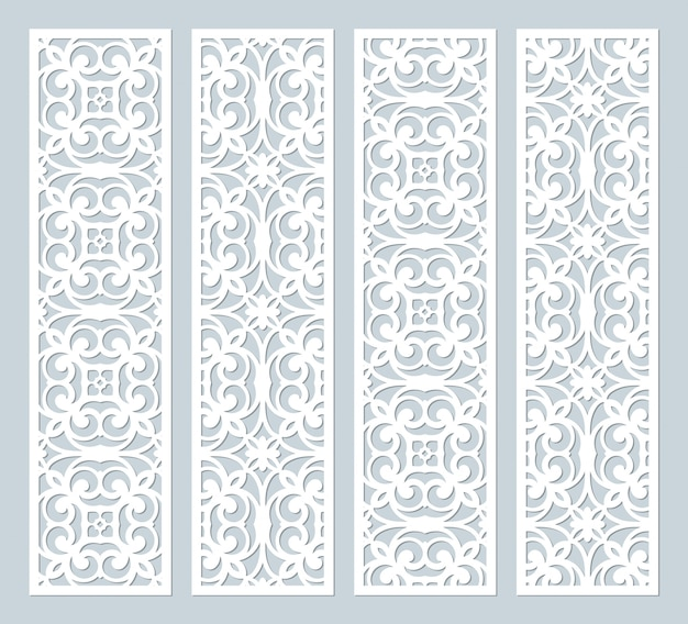 Laser cut decorative lace borders patterns. set of bookmarks templates. cabinet fretwork panel. lasercut metal panel. wood carving