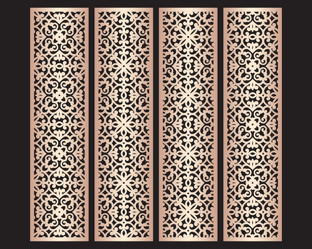 Laser cut decorative lace borders patterns. set of bookmarks templates. cabinet fretwork panel. lasercut metal screen. wood carving.