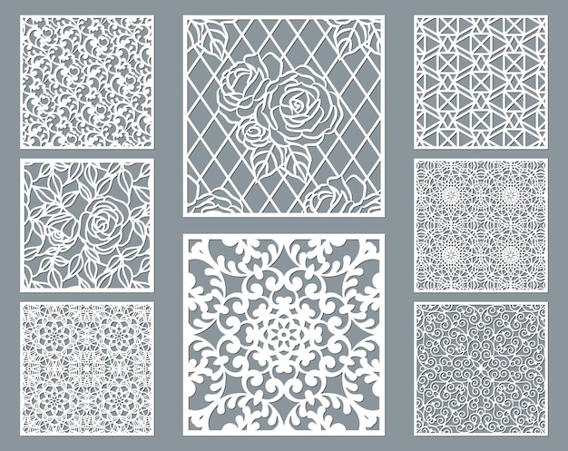 Laser cut decorative panel set with lace pattern, square ornamental templates collection.