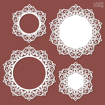 Laser cut frame collection with swirls lace border