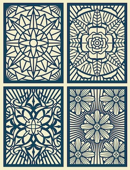 Laser cut fretwork vector pattern cards