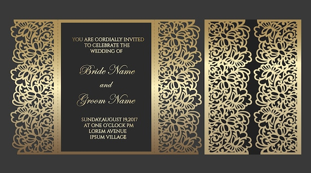 Laser cut gate fold envelope template for wedding invitations. ornate border with floral elements.