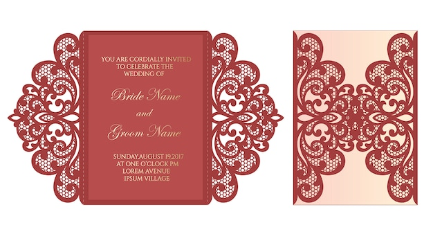 Laser cut gate fold invitation template with lace elements