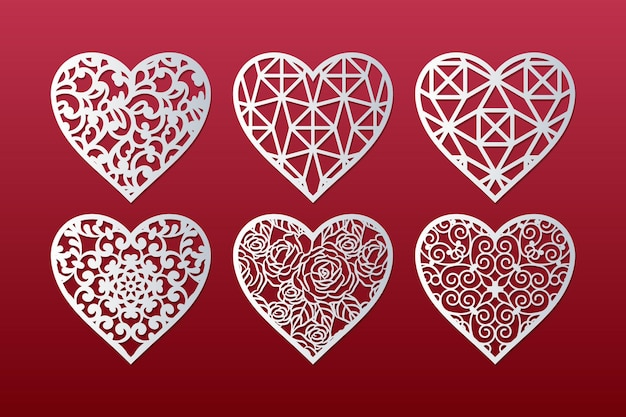 Laser cut hearts set with lace pattern.