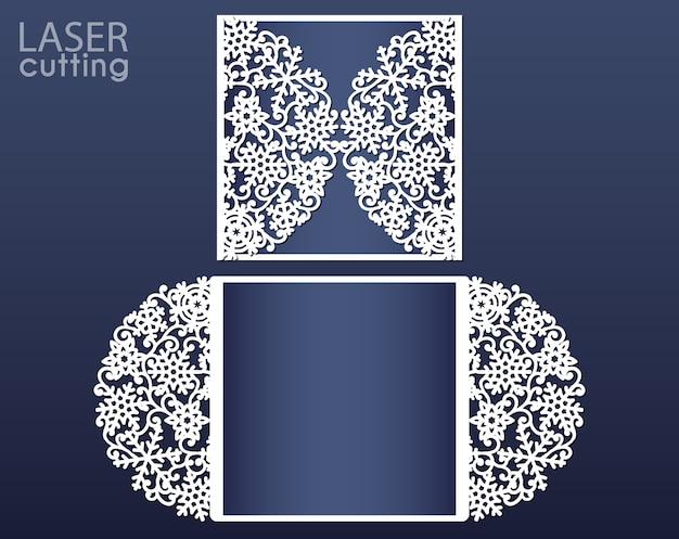 Шаблон приглашения лазерной резки. открытка с вырезом для бумажных ворот с узором из снежинок