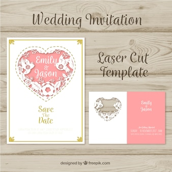 Laser cut invitation for wedding with a heart