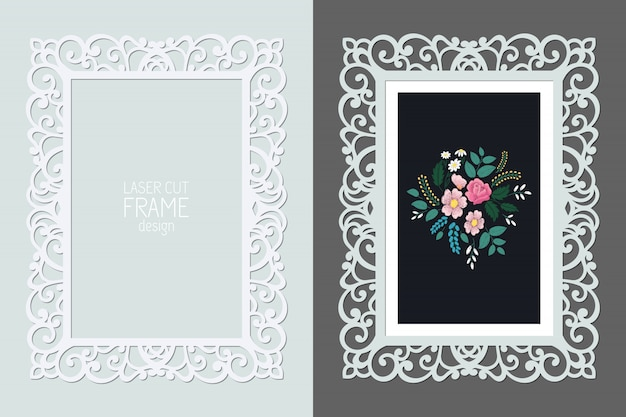 Laser cut lace rectangular frame, template. ornamental cutout photo frame with pattern.