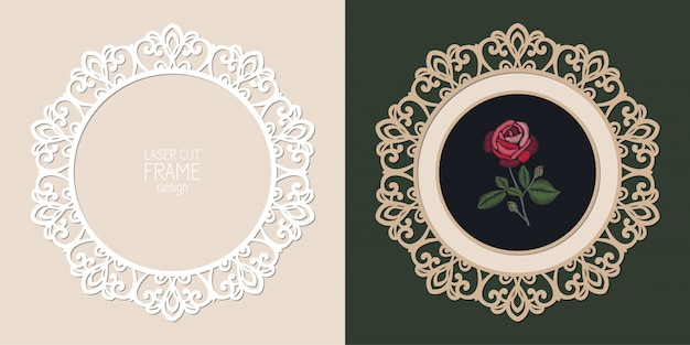 Laser cut lace round frame, template. ornamental cutout photo frame