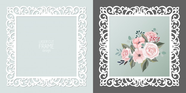 Laser cut lace square frame, template. ornamental cutout photo frame
