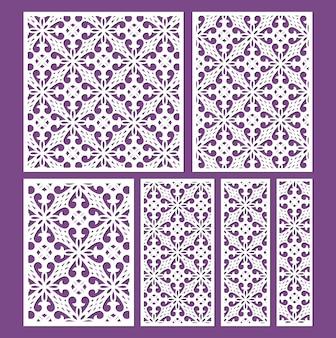 Набор шаблонов декоративных панелей с лазерной резкой декоративные кружевные бордюры вектор
