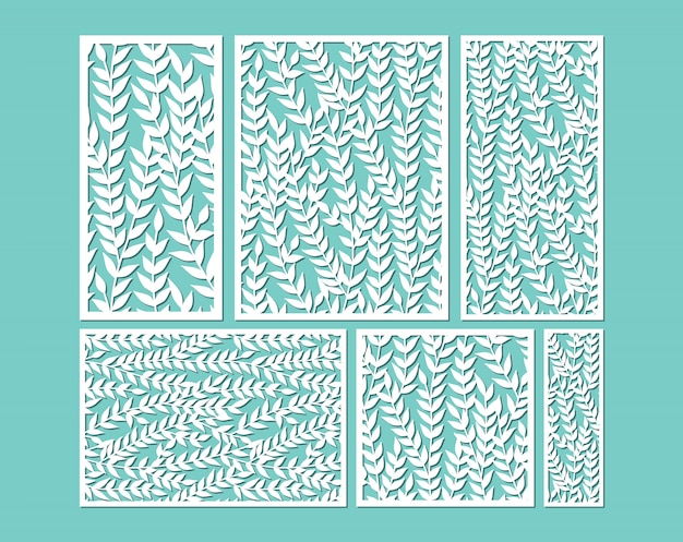 Лазерная резка шаблонов декоративных панелей с листьями.