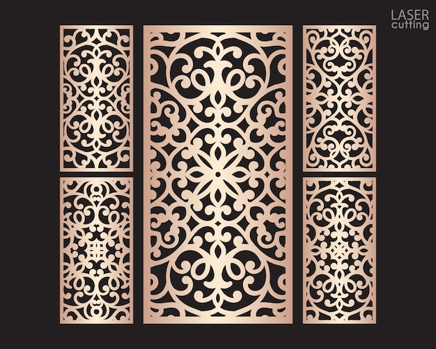 Laser cut ornamental panels set with pattern, template for cutting.   metal design, wood carving.