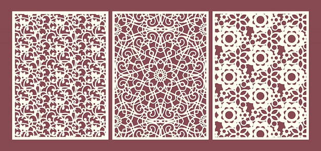 Laser cut ornamental panels template set with swirls, flowers and leaves floral