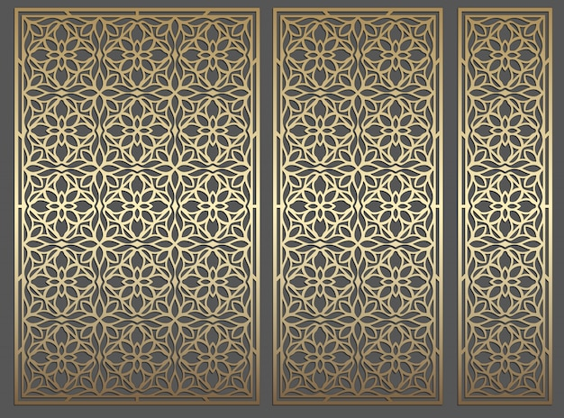 Лазерная резка панелей. декоративный повторяющийся винтажный векторный шаблон границы для лазерной резки, цветного стекла, травления стекла, пескоструйной обработки, резьбы по дереву, изготовления карт, свадебных приглашений.
