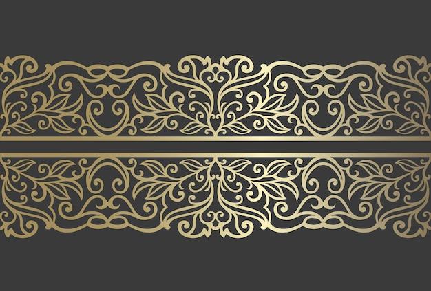 レーザーカットパネルデザイン。レーザー切断、ステンドグラス、ガラスエッチング、サンドブラスト、木彫り、カード製造の華やかなビンテージベクトル境界線テンプレート。
