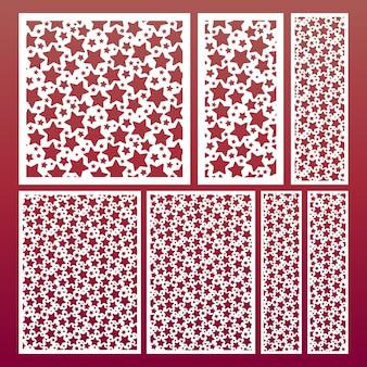 Набор панелей для лазерной резки с рисунком звезд, шаблоны для резьбы по дереву, декоративная вырезка из бумаги