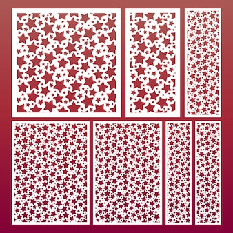 Laser cut panel set with pattern of stars, templates for wood carving, cutout paper decorative