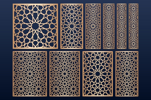 Laser cut panel template set with islamic   pattern.