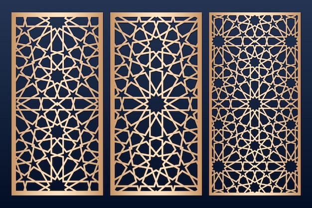 Laser cut panel template with islamic   pattern.