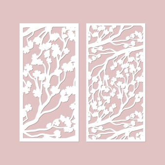 Laser cut  panels set with cherry blossom branches pattern.