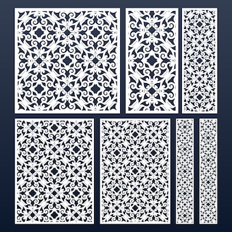 Laser cut panels set with lace pattern.  cutout silhouette stencil pattern. different sizes and shapes.