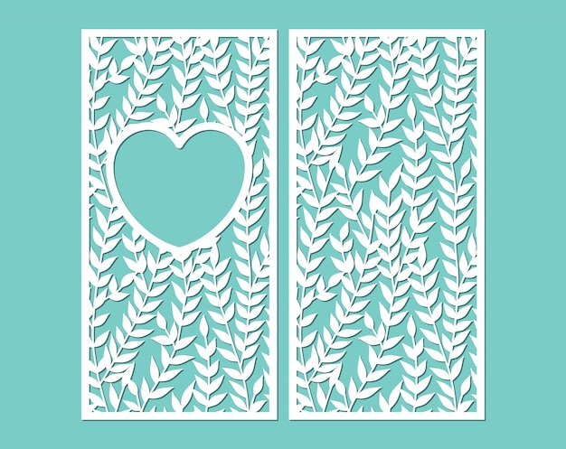 Laser cut paper lace frame in the shape of heart