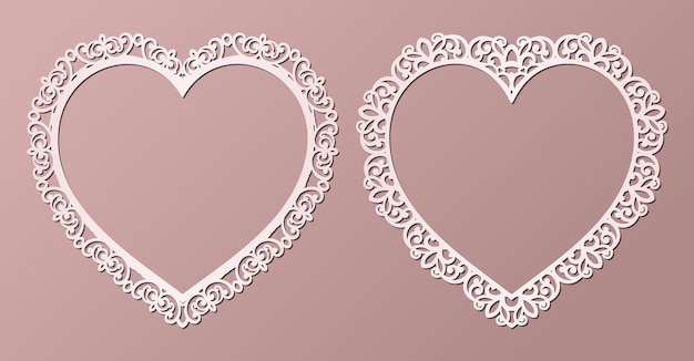 Laser cut paper lace frames in the shape of heart,   illustration. ornamental cutout photo frame with pattern.