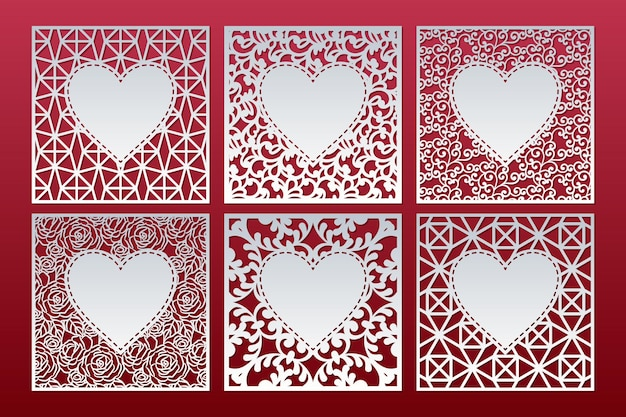 Laser cut patterned cards set with hearts. square panel templates.