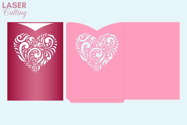 Laser cut pocket envelope with patterned heart. valentine's card cover cutting template.
