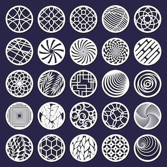 레이저 컷 라운드 추상 장식 패턴입니다. 추상 장식 원 절단 패널 격리 벡터 일러스트 레이 션 세트. 라운드 기하학적 패턴 패널. 라운드 장식 및 장식 장식