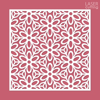 Laser cut square ornamental panel with pattern of flowers.