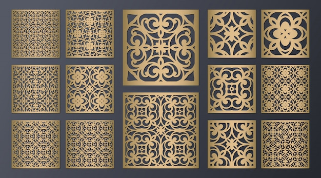 Laser cut square ornamental panels set.  cabinet fretwork screen. metal design, wood carving