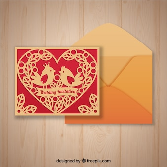 Laser cut template and envelope with flat design