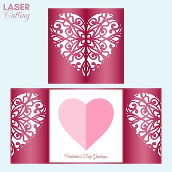 Laser cut template of gate fold card with patterned heart for valentine card.