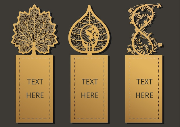 Laser cut template for greeting card, gift card, thanks tag, bookmark.
