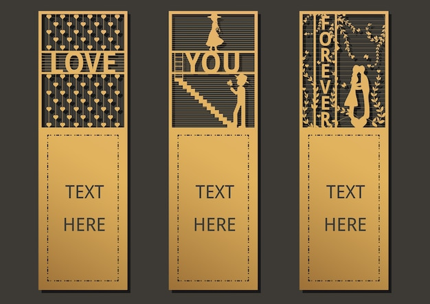 Laser cut template for greeting card, wedding, invitation, bookmark.