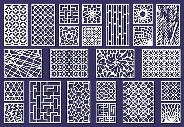 Laser cut template patterns, paper art or metal cutting panels. abstract texture decorative laser cut panels vector illustration set. cutting engraving panels