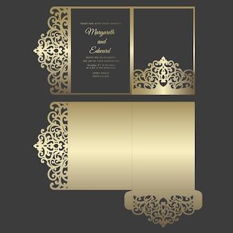 Лазерная резка три раза карманный конверт для свадебных приглашений. декоративная свадьба приглашает макет. карманный дизайн конверта.