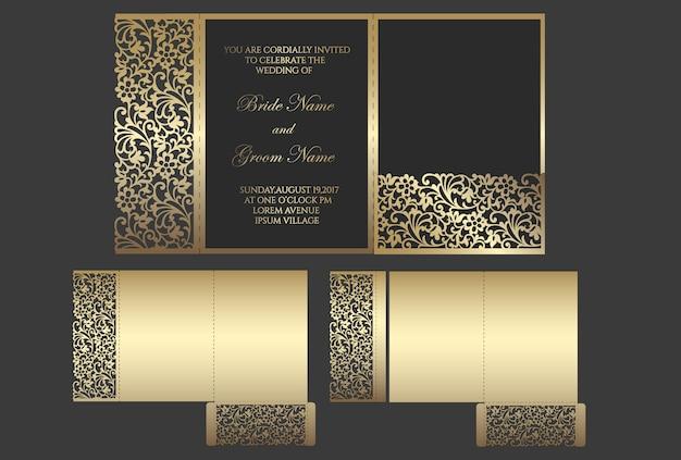 Laser cut tri fold pocket envelope for wedding invitations. ornamental wedding invite mockup. pocket envelope design.